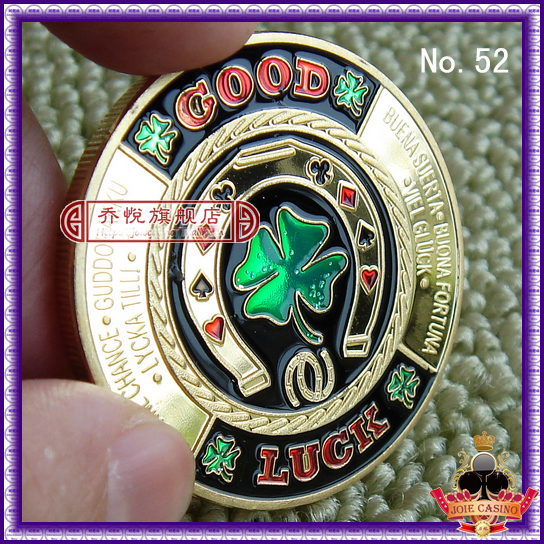Metal for Pressing Poker Cards Guard Protector No.52 GOOD LUCK  Poker Chips Souvenir Coins