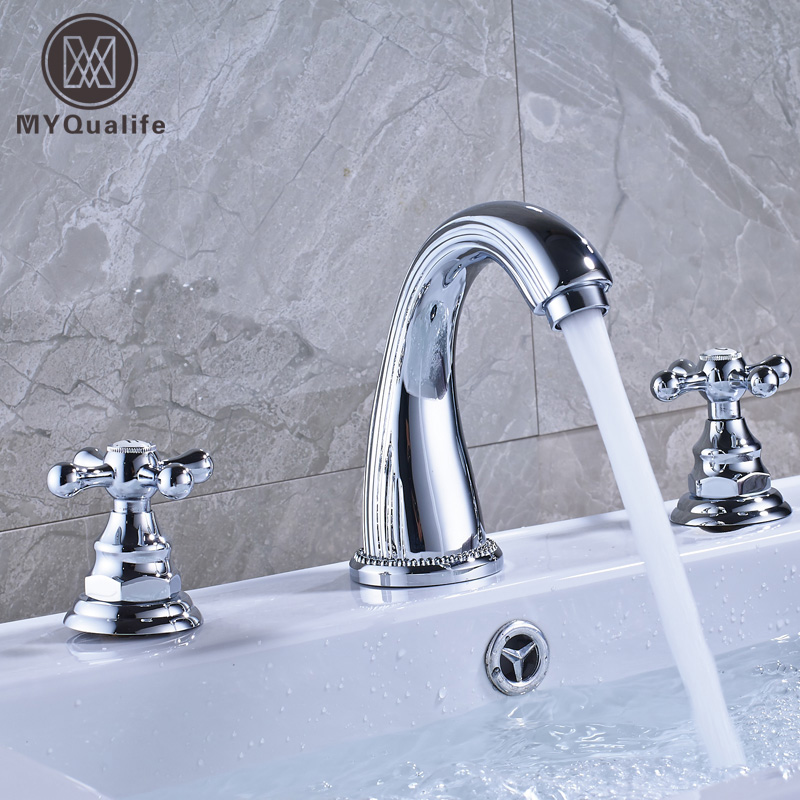 Bright Chrome Dual Handle Bathroom Mixer Faucet Deck Mounted 3 Install Holes Hot and Cold Water Lavatory Sink Taps bathroom golden dual handle taps washbasin sink faucets hot and cold water mixer faucet