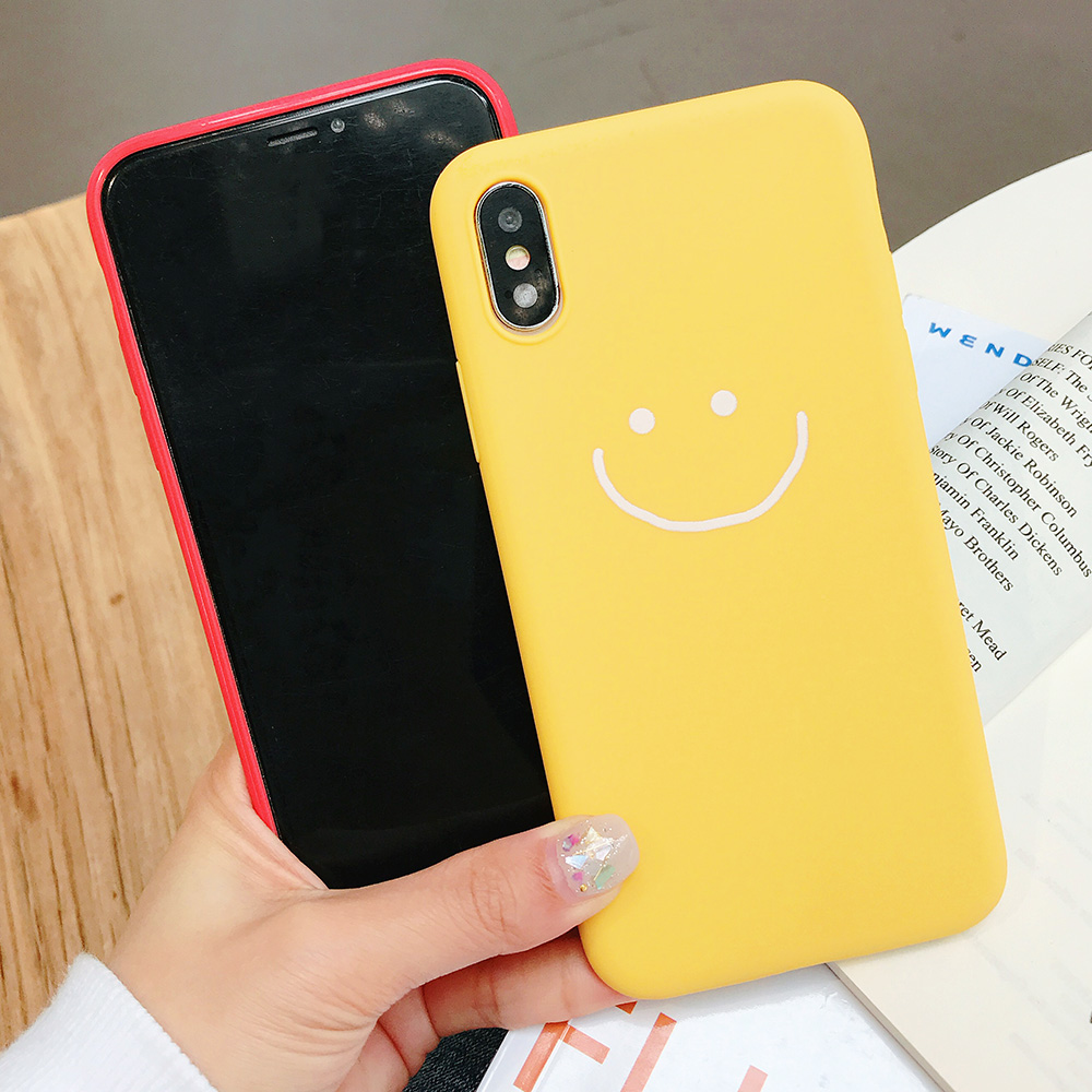 KIPX1083_2_JONSNOW Phone Case for iPhone X XR XS Max Candy Color Smiley Pattern Soft Silicone Case for iPhone 7 8 6S 6 Plus Back Cover