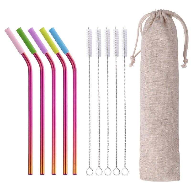 100 pièces/ensemble 6mm réutilisable en acier inoxydable en métal paille à boire avec des pointes en Silicone propre sac de brosse pour les accessoires de Bar de fête à la maison
