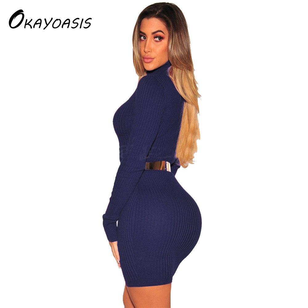 ef5073c57a Okayoasis vestidos sweater vestido invierno manga larga cuello alto vestido  caliente otoño ropa para mujer vestido de fiesta en Vestidos de La ropa de  las ...