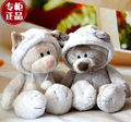 candice guo! Nici plush toy couple Snow civet Leopard cat stuffed doll lover cap cat christmas birthday gift 35cm 1pc