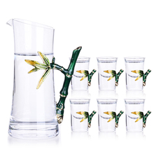 Creative enamel white wine glass small capacity cup bamboo design 7pcs-set free shipping