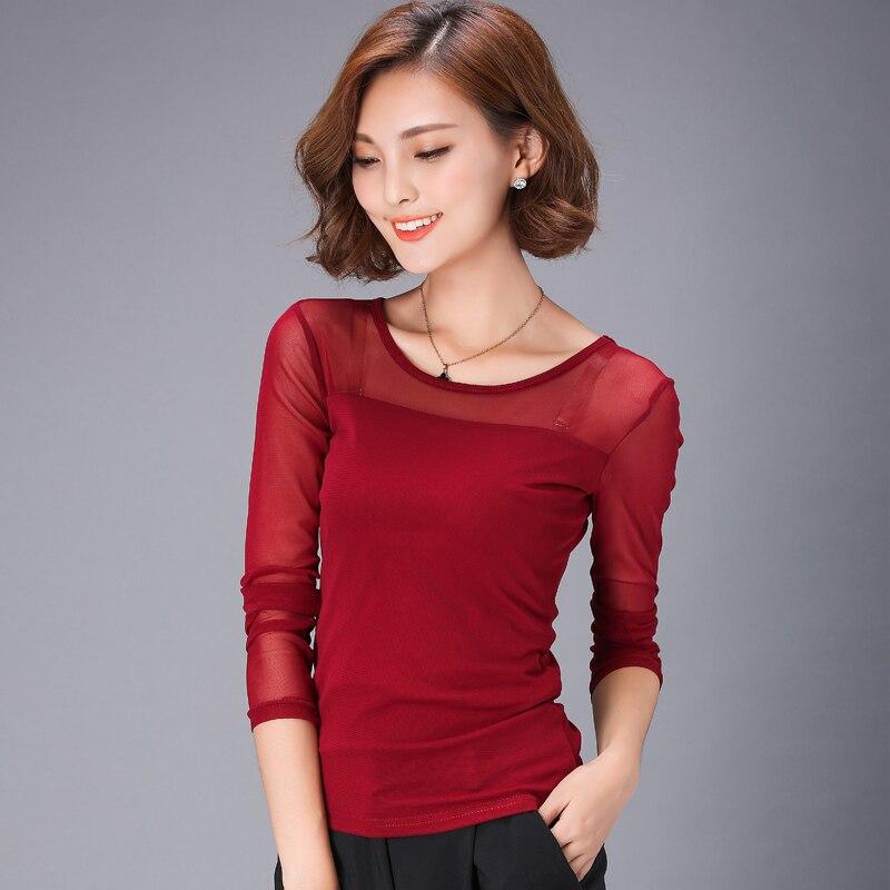 Blusas 2018 Payız Qış Krujesi Bluz Moda Crochet Krujeva Uzun Qollu - Qadın geyimi - Fotoqrafiya 4