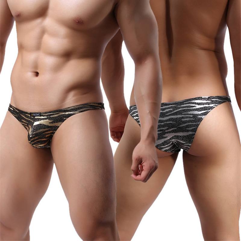 Brand Men s Underwear Men Briefs Golden Leopard Silver Leopard Sexy Male Low Waist underwear Factory