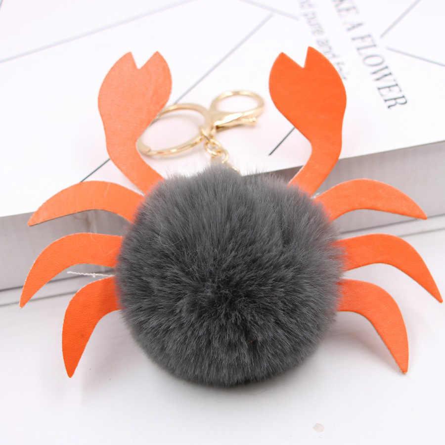 Bonito fofo pompom caranguejo chaveiro falso coelho pele animal chaveiro saco encantos pingente jóias para presentes femininos acessórios