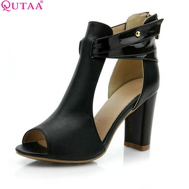QUTAA Spring And Summer Square Heel Women Pump Peep Toe Genuine Leather Zipper Sexy OL Ladies Casual Shoes Size 34-39 2015 spring and summer wedge heel women pump zipper ladies casual brow shoes