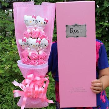 Nadziewane zabawki piękne hello kitty pluszowe koty lalki z fałszywe róże kwiat bukiet kwiatów dekoracje walentynki prezent dla dziewczyny