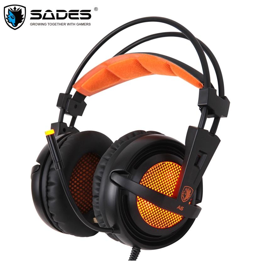 Casque A6 Fones de ouvido de Jogos Sades 7.1 Surround Sound Stereo Respiração Luzes LED USB Jogo Headset com Microfone para PC Gamer