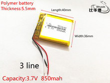 3 line 3.7V,850mAH,553640 PLIB; polymer lithium ion / Li-ion battery for GPS,mp3,mp4,mp5,dvd,bluetooth,model toy mobile bluetoo