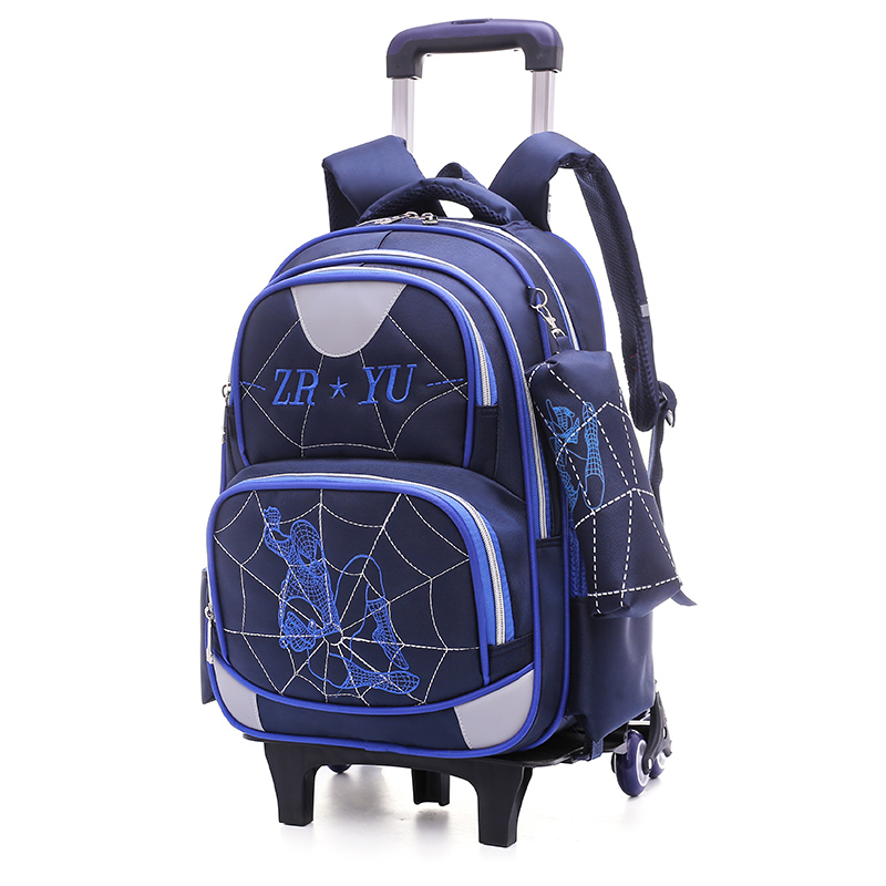 OKKID stair climbing trolley backpack for boy waterproof rolling school backpack children wheeled school bags for