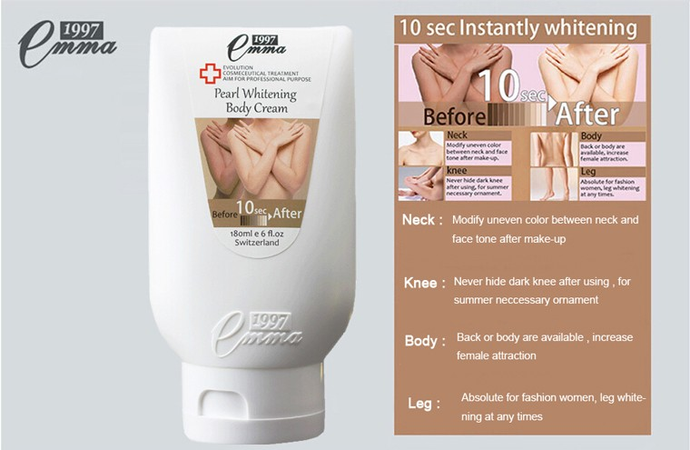 Whitening Body Cream 10 second Instantly whitening Body Lotion Skin Care Moisture for whole body 180ML Free Shipping 12