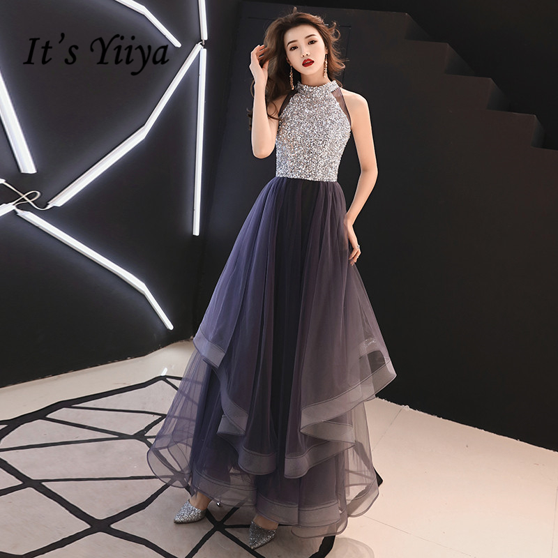 It's YiiYa   Prom   Gowns Purple Sequins Bling Hatler Neck A-line Floor Length Custom Color Plus size Long Party   Prom     Dresses   E442