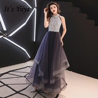 It's YiiYa Prom Gowns Purple Sequins Bling Hatler Neck A line Floor Length Custom Color Plus size Long Party Prom Dresses E442