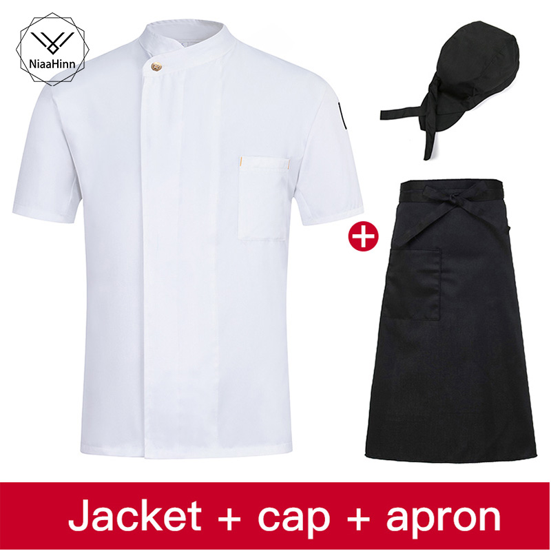 White Chef Jacket Kitchen Restaurant Uniform Shirts Short Sleeve Work Clothes Men Women Hotel Bakery Cooking Sushi Costume Apron