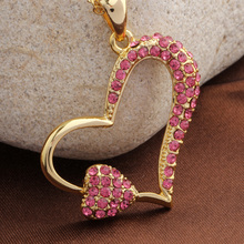 2016 Новый стиль Choker золотые ожерелья для женщин ювелирные изделия bijoux collier femme хрустальное сердце ожерелье sautoir длинное ожерелье colier