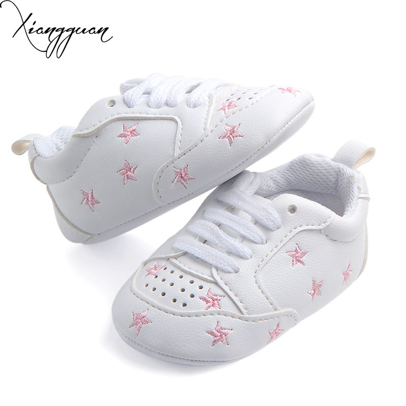 New Arrival Comfortable Breathable Baby Sport Shoes White PU With Star Heart Shaped Baby Boy Girl