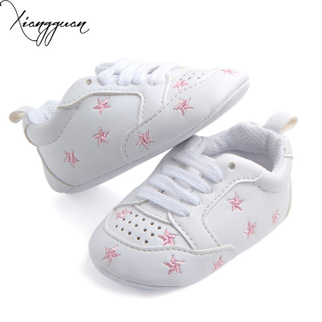 bf44ea86b817 New Arrival Comfortable Breathable Baby Sport Shoes White PU With Star  Heart-Shaped Baby Boy Girl Leather Shoes For 0-15 Months