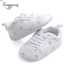 New Arrival Comfortable Breathable Baby Sport Shoes White PU With Star Heart-Shaped Baby Boy Girl Leather Shoes For 0-15 Months