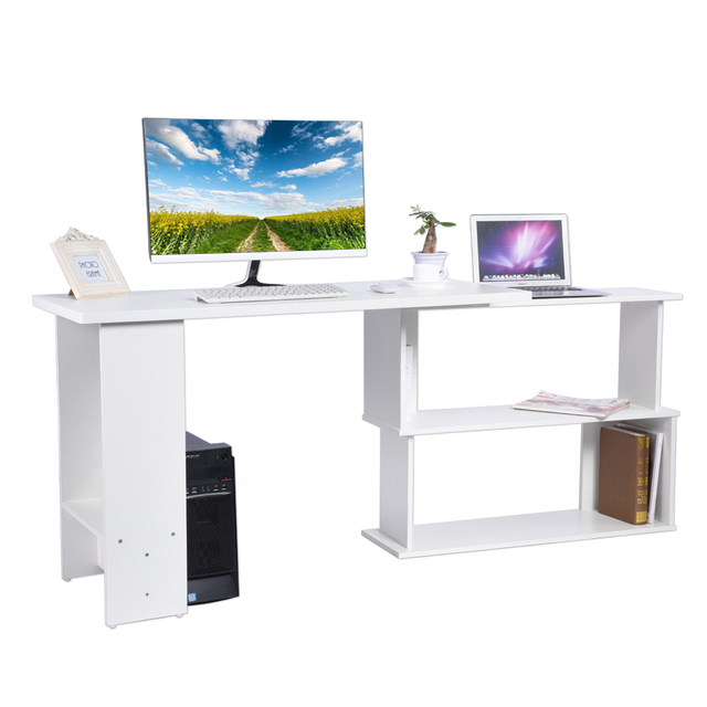 Folding Corner Rotatable Computer Desk L Shape Pc Laptop Table Home Office Workstation Kid Study