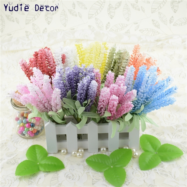 10pcs Foam Lavender Artificial Flowers Bouquet For Wedding Car Home
