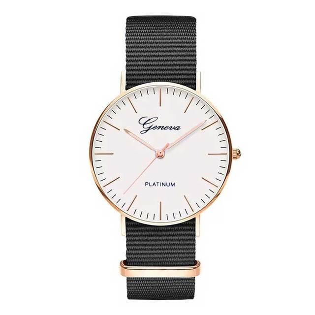 a1add2037cd Exquisite simple Nylon strap women watches luxury fashion quartz  wristwatches Geneva PLATINUM woman clock montre femme