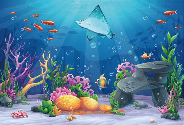 Laeacco Baby Cartoon Fish Shell Coral Underwater Ocean