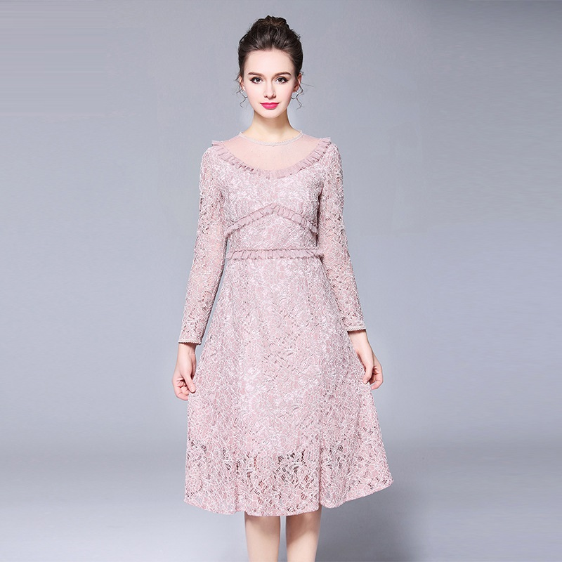 New2018fashion ladies plus size Lace Dress pinched waist long Sleeve  elegant party beautiful temperament vestidos M XXXXXL XXXXL-in Dresses from  Women s ... 9adf1a5bf6ee