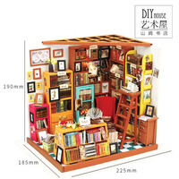 DG102 Miniatura Wooden Doll House Furniture Dollhouse Miniature stroe Puzzle Toy Model Kits Toys Sam bookstore