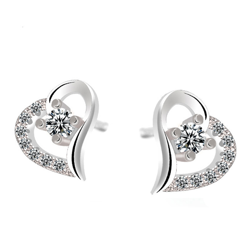 Fashion Inlay Cubic Zirconia Silver Stud Earrings Korean Heart ...