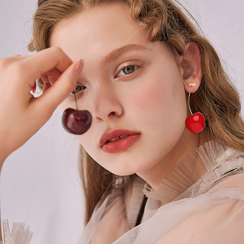 HTB1DBuSSkzoK1RjSZFlq6yi4VXaV - New Fashion 2019 Earrings Women Girls Resin Cute Round Dangle Red Cherry Fruit Earrings Jewelry Gift