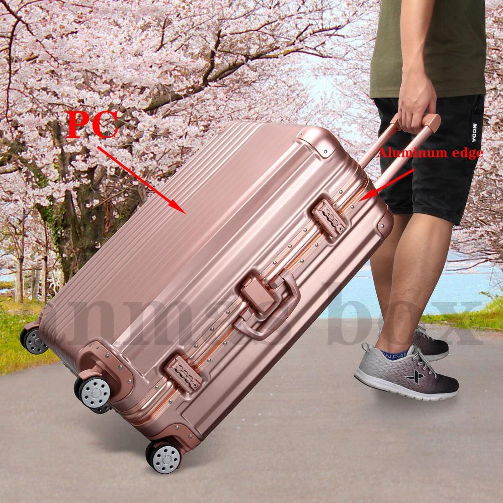 20/28 pouces luxe or Rose roulant bagages 4 roues valise à roulettes cadre en aluminium bagages PC boîtier de chariot