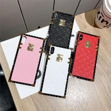 Newest luxury square lambskin business solid color phone case For iPhone Xs MAX X Xr 7 8 6 6s plus For Samsung S8 S9plus Note8 9 luxury square leather for iphone xs max xr x xs 6 6s 7 8 plus fashion phone case for samsung s8 s9 s10 plus note10 pro note8 9