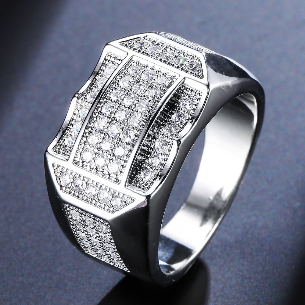 14K White Gold Fashion Big Zircon Diamond Rings for Men Jewelry 14K Gold Geometric 925 Sterling Silver white topaz jewelry rings in Rings from Jewelry Accessories