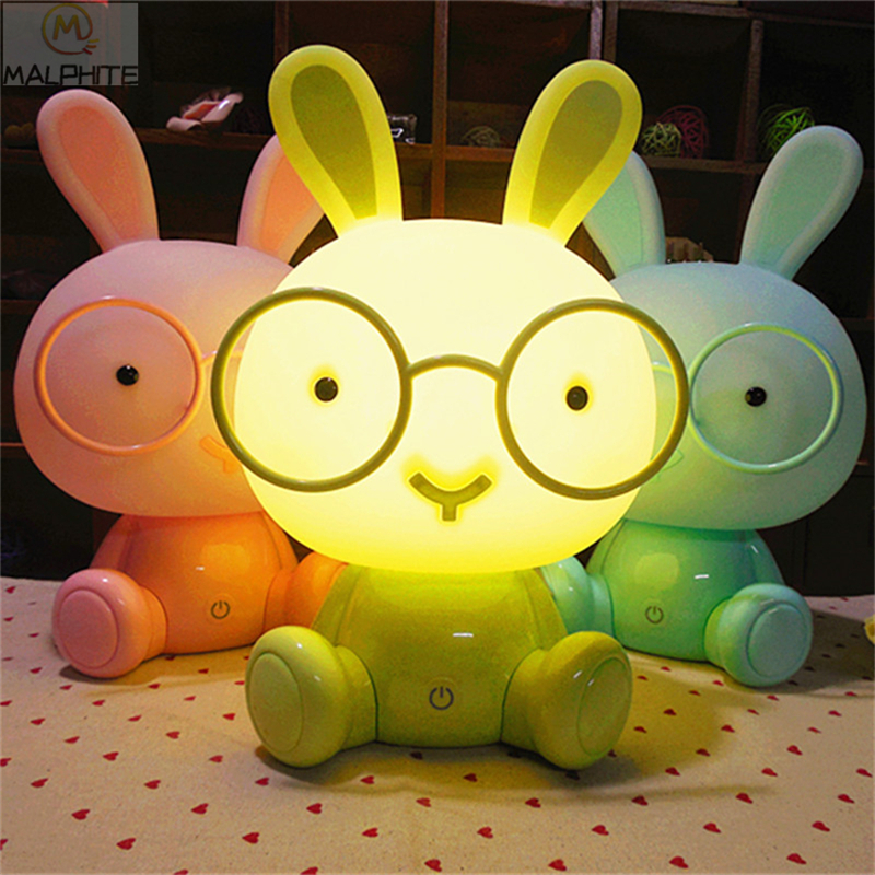 Cute Pink Rabbit LED Night Lights Christmas Gift Baby Bedroom Moon Lamp Kids Bedside Decor Lighting Fixtures Lovely Desk Lights
