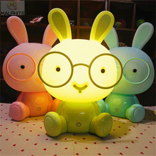 Cute Pink Rabbit LED Night Lights Christmas Gift Baby Bedroom moon lamp Kids Bedside Decor lighting fixtures Lovely Desk Lights(China)