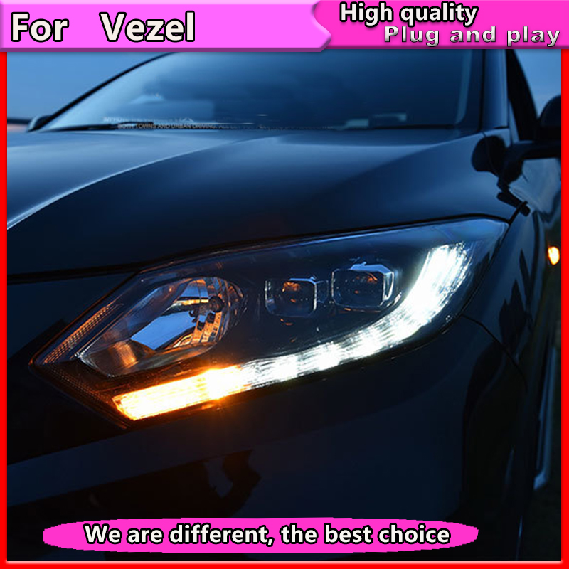 Style de voiture pour honda HRV phares pour VEZEL HRV LED lampe frontale ange eye LED DRL avant lumière bi-xénon lentille xénon HID