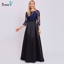 Dressv dark royal blue evening dress cheap a line 3/4 sleeves scoop neck wedding party formal sequins lace evening dresses(China)
