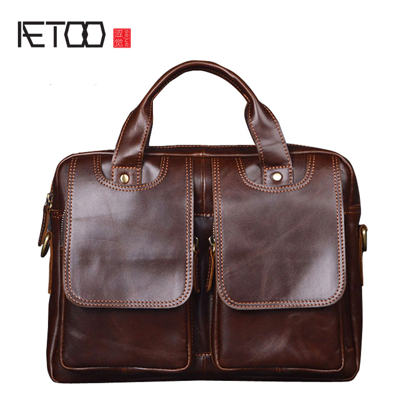 AETOO Europe and the United States first layer of oil wax leather men's handbag diagonal cross-A4 package multi-functional compu europe and the united states style first layer of leather lychee handbag fashion retro large capacity solid business travel bus