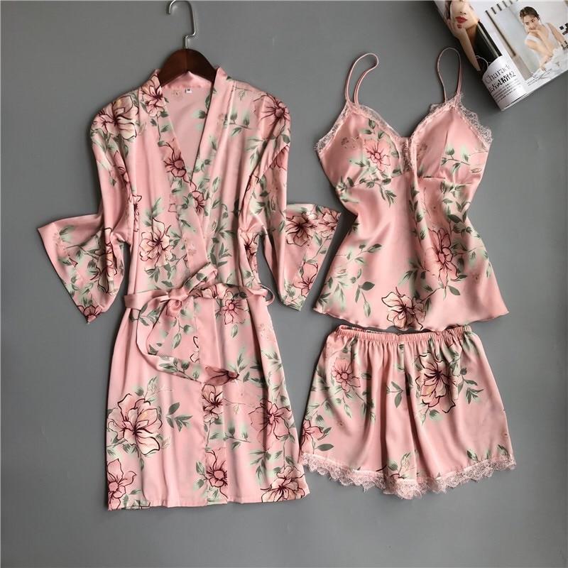 Nighties Women Pajamas Satin Sleepwear Pijama Silk Home Wear Lace Home Robe Chest Pads Sleep Lounge Pyjama pink white 3 Pieces