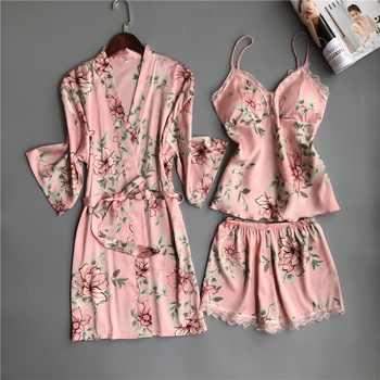 Nighties Women Pajamas Satin Sleepwear Pijama Silk Home Wear Lace Home Robe Chest Pads Sleep Lounge Pyjama pink white 3 Pieces - DISCOUNT ITEM  21% OFF All Category