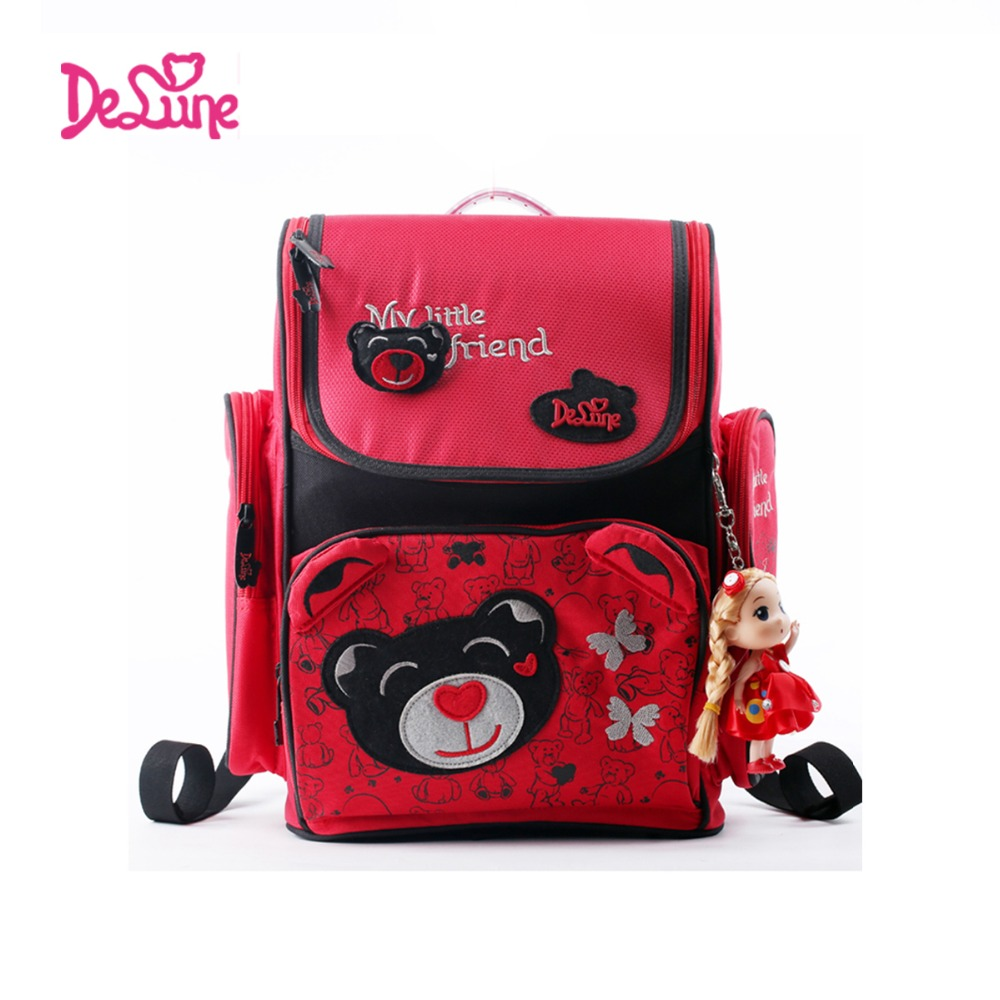 Authentic Delune1-002 printing Children School bags Cartoon bear school Backpack for girls spine protection Quality kids bag children spiderman school bags 2016 new cartoon spider man printing schoolbags kids backpack for girls