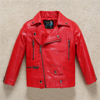 Budremmy 3 11Y Children PU Leather Jacket Boys Fall Leather Coat Girls Spring Jacket 2017 Children Solid Casual Outerwear Infant