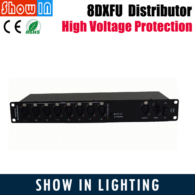 DMX512 1990 Стандартный сигнала усилитель распределитель Splitter ретранслятор 8 DXFU 110 В 230 В XLR Pin3 с одним Вход CE UL Бесплатная доставка