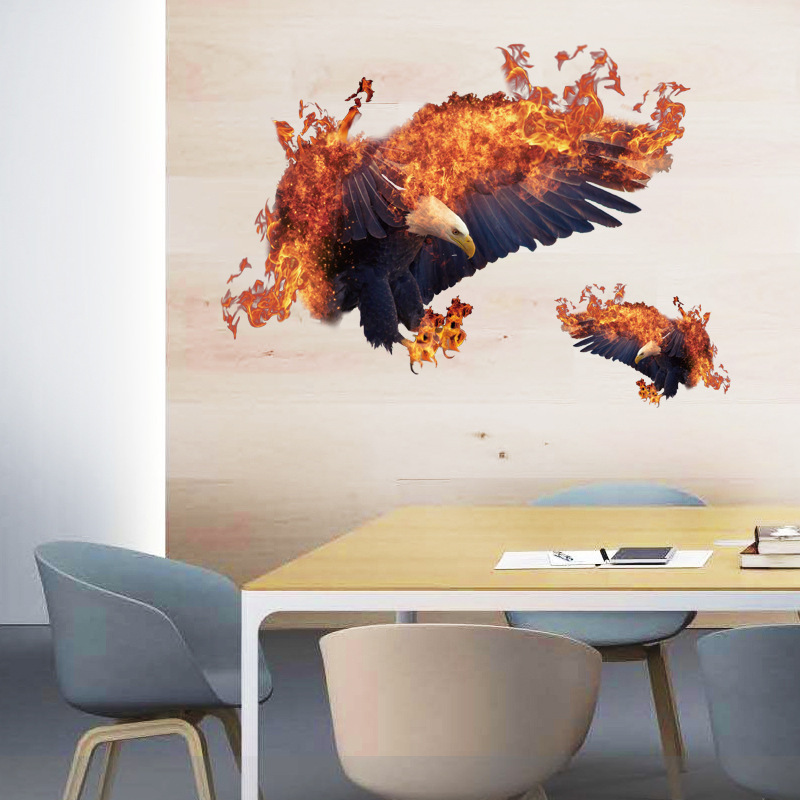 DIY Flame Eagle Wall Stickers Personalized Bedroom Living Room Study Office Restaurant Home Decoration Removable Wall Stickers