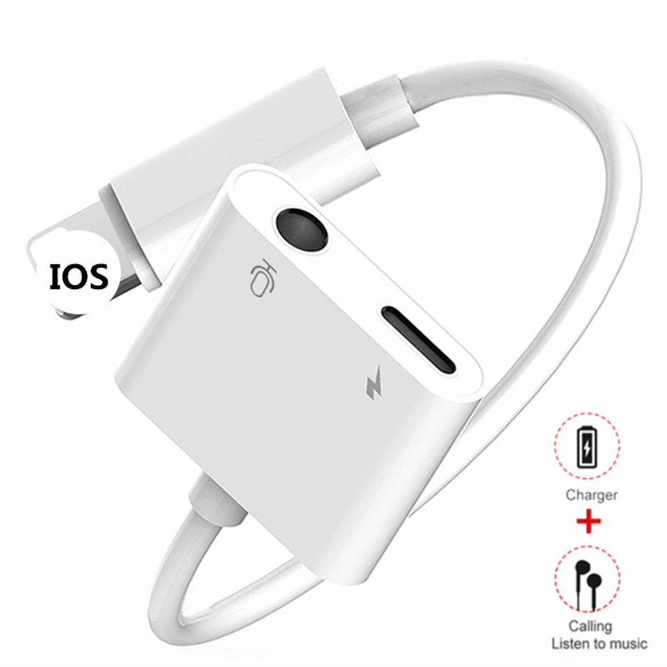 For IPhone Adaptador Charger To 3.5mm Jack Headphones Audio 2 In 1 For Iphone X XS Max 7 8 Plus AUX Lighting Plug Charge Adapter