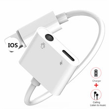 купить For iPhone Adaptador Charger To 3.5mm Jack Headphones Audio 2 in 1 For iphone X XS Max 7 8 Plus AUX Lighting Plug Charge Adapter онлайн