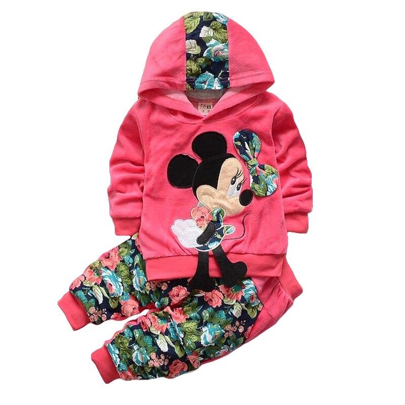 Frühling Minnie Cartoon Mädchen Kleidung Gesetzt Casual Baumwolle Mit Kapuze Kinder Kleidung Set Volle Hülse Mädchen Hoodie kinder Tragen