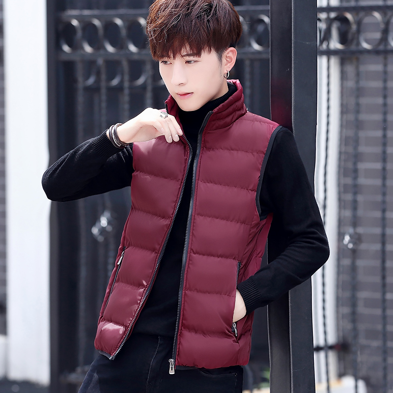 2018 fashion autumn winter men stand collar thick warm   down   jacket   coat   men's vest waistcoat CF12