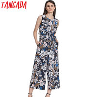 Tangada 2017 Floral Print Jumpsuit Romper Women Elegant Sleeveless O-Neck Sashes Overalls Casual Summer Jumpsuits Female 2F7